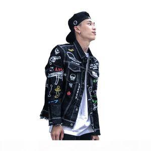 2017 Autumn for Men Denim Jacket Graffiti Hand Painted Outwear Hip Hop Punk youth Man frayed Cowboy Coat motorcycle Overcoat