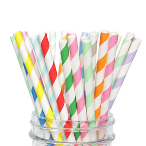 Disposable Striped Kraft Straws Degradable Eco-friendly Striped Paper Straws Wedding Children Birthday Party Juice Drinking Straws DHF3603