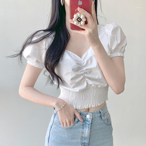 Korean V-neck Short Sleeve Shirt Woman Fashion Elastic Waist Slim Fit Blouse Ladies Nordic Corset New White Black Crop Top Women1