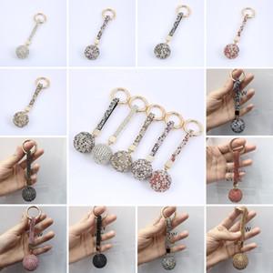 Blingbling Diamond Keychain Brillant Cristal Boule Bague Porte-clés de perceuse Full Perceuse Touche Boucle Boucle Clé Chaîne Bague Bague Charme Pendentif Décoration DHA2764