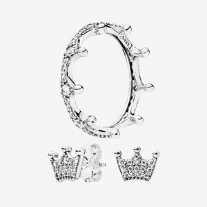 Sparkling Crown Ring and Earring sets Original box for Pandora 925 Silver Women Gift Summer jewelry Wedding Rings Stud Earrings wholesale