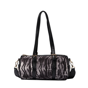 Leopard print personality shoulder bag cylindrical lady's handbag suede diagonal span bag