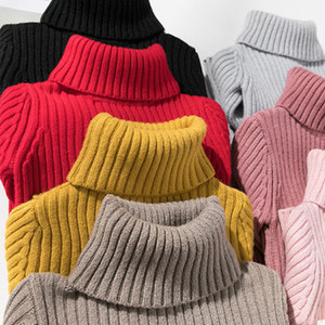 Girls Sweaters Turtleneck Solid Color Knitting Sweater Autumn Children Clothing White Pullover Kids Tops 2t 3t 4t 8 12 13 Years LJ201128
