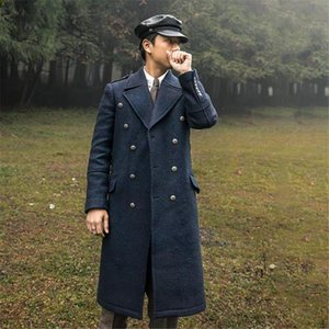 Winter Warm Men's Velet Coat Solid V-Neck Japan Style Double-Breasted Jacket Fashion Business Casual Overcoat