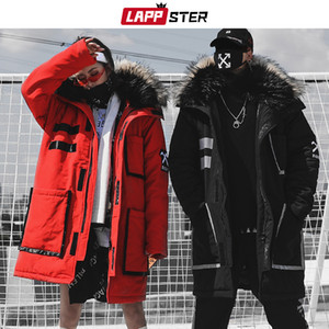 LAPPSTER Streetwear Winter Parkas Men Mens Japanese Thick Long Coat Windbreaker Hip Hop Fashion Warm Hooded Jackets Coats 201119