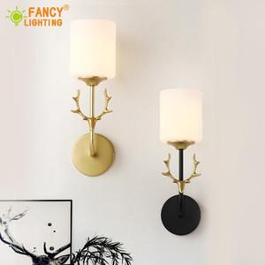 (Free E27 LED Bulb)Modern indoor wall lamp Antler led wall light Black Golden Glass light fixture for bedroom living room