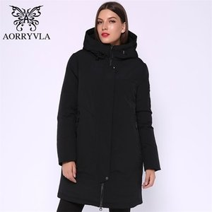 AORRYVLA Brand Women Winter Parka Chaqueta femenina gris con capucha con capucha con capucha larga biológica biológica por la chaqueta de invierno caliente modelo caliente 201201