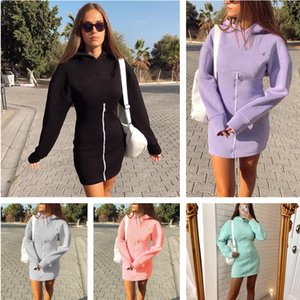 Europe and America Autumn And Winter New women's solid hooded slim long sleeve zipper sweater dress fashion casual Long sleeve dresses