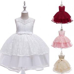 summer cute o-neck sleeveless flower girl dress bowknot applique princess wedding party lace prom dress girl evening dress