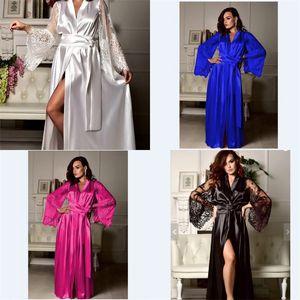Fashion Lady Pyjamas Nightgowns Sleep Skirt Lace Solid Color Long Sleeve Floor Length Sleepshirt Women Sexy Home Underwear Sleepwear 18jy L2