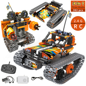 3 in 1 RC Stunt City Technic Building Blocks Remote Control Car Robot Track STEM Bricks Educational Toys For Children Q1125
