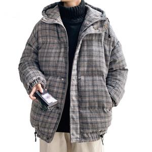 Winter New Men Plaid Solid Color Parkas Brand Men's Hooded Thick Warm Jacket Male Fashion Casual Parkas Coat Hip Hop Couple coat