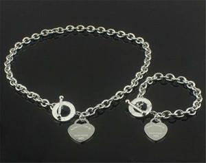 Bracciale in argento 925 + collana a sospensione a forma di cuore, set di braccialetto, collana d'amore, set di coppia braccialetto