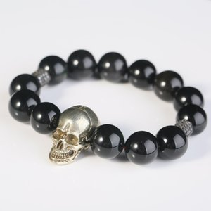14.5mm Obsidian Gothic Skull Bracelets Men Fashion Crystal Beads Punk Jewelry