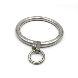 Stainless Steel Necklet Collar Metal Neck Ring Restraint Locking Pins Adult Bondage Bdsm Sex Games Toy For Male Female Y201118