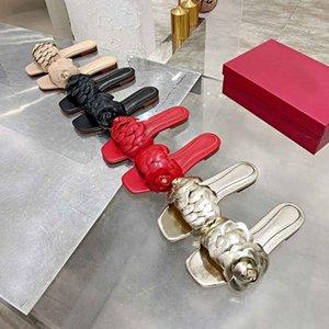 Новые женские тапочки дамы плоский каблук тапочки тапочки женские тапочки кожаные женские цветочные скольжения высочайшее качество с коробкой большого размера 35-45