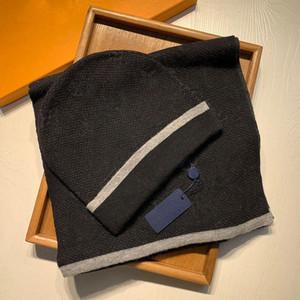 Designer Unisex Pashmina Donne da uomo Sciarpa a maglia e cappello Set inverno Cappelli caldi e sciarpe Cappello beanie senza scatola