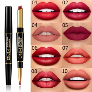 DNM 2 in 1 Matte Lipstick Double Ended Long Lasting Makeup Lip Stick Pen Waterproof Nude Red Lips Liner Pencil