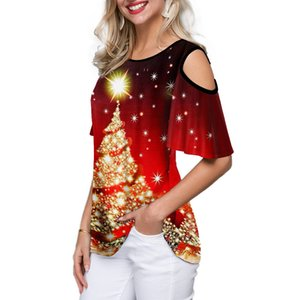 5Colour S-2XL Women's fashion casual new Christmas tree print round neck loose pullover button top T-shirt pullover Blouse 25628423168229
