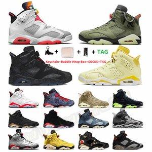 Kutu Çorap 6 Hares Travis Scotts Siyah Kedi 6s Erkek Basketbol Ayakkabı 3 3s UNC Animal Instinct Varsity Kraliyet Sneakers ile Boyut 13