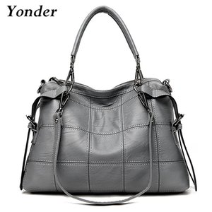 Yonder Genuine Leather Women Handbag Fashion Boston Shoulder Bags Ladies Tote Bags female Classic Gray Messenger Crossbody Purse 201125