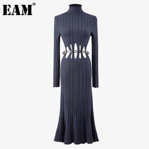 [EAM] Femmes Métal Chaîne Hollow Out Robe à tricoter Nouveau Turtleneck à manches longues Gaine Fit Fit Fashion Tide d'automne 2021 1DD2721