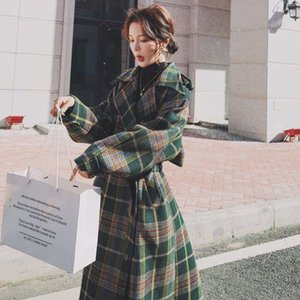 2020 autumn new chanél l. Classic plaid loose waist thickening woolen plaid long coat free delivery