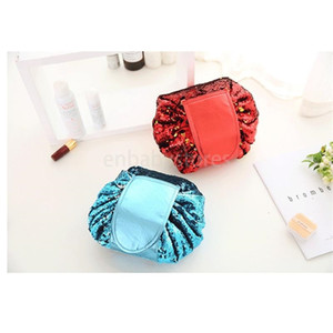 E Sequins Mermaid Vely Vely Storage Bag Bing Paillette Reversible Drawstring Cosmetic Bags Travel Makeup Pouch Fold Make Up String Bags
