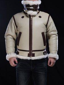Merino Ovejas Piel Avirexfly Hombres Chaquetas de cuero genuinas B3 Fuerza Aérea Cojillas de vuelo Proteger contra el frío