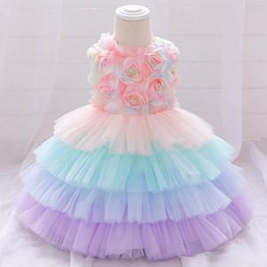 INS baby girl dress flower girls dresses for wedding 1st birthday dress for baby girl princess dress party Tutu girls dresses B2691