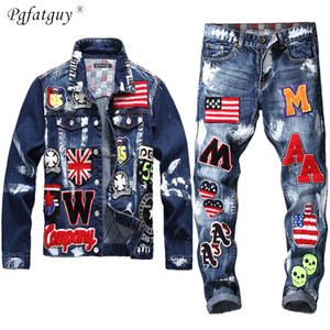 Bordado Patch Design Chaqueta Jeans 2 piezas Set Multi-Badge Skull Jeans Sets Slim Denim Jacket + Bandera Insignia Pintura Jeans 201118