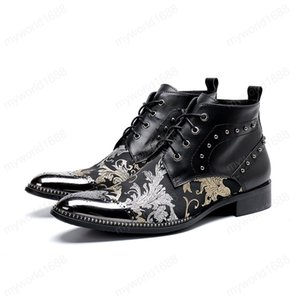 Europe America pointed-toe lace-up flowers print ankle boots low heel rivet formal boots fashion Martin boots