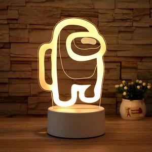 Cartoon Parmi nous LED Lumineux changements Night Light Up Novelty Clignotant Jouets Cadeaux Lampe de chevet Acrylique USB Table Lampe Chambre à coucher CZ0127B