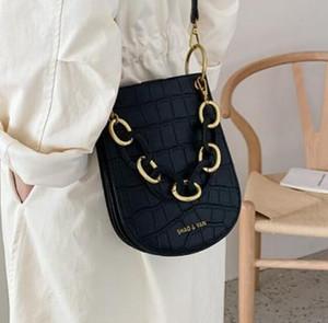Vintage Alligator Saddle Women Shoulder Bags Designer Acrylic Handle Handbags Luxury Pu Leather Crossbody Bag Lady Large Purses