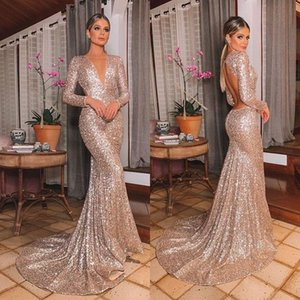 Vintage Backless Long Sleeves Evening Dresses 2020 V Neck Sexy Sequined Bridesmaid Dress Plus Size Prom Gowns