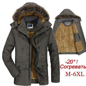 Winter Jacket Men Plus Size 5XL 6XL Cotton Padded Warm Parka Coat Casual Faux Fur Hooded Fleece Long Male Jacket Windbreaker Men