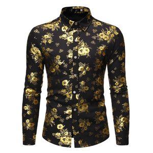 Shiny Floral Print Button Up Shirt Men 2021 Luxury Slim Fit Long Sleeve Dress Shirt Mens Party Wedding Prom Tuxedo Shirts Male