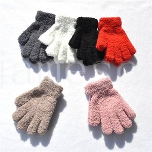 Warmom coral fleece verdicken kinder handschuhe winter have warme kinder baby plüsch pelzige volle fingermitte weiche handschuhe für 7-11 jahre db251