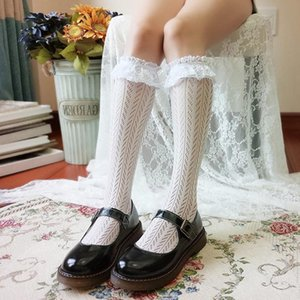 Lolita Lace Stockings Women High Knee Socks Elatic Hollow Long Stocking Leg Female Dress Black White Calcetines