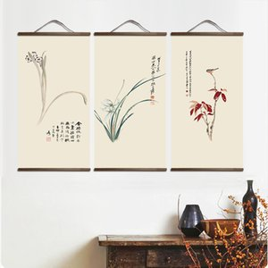 HOT Chinese Style Landscape Green Plants Canvas Decorative Painting Store Bedroom Living Room Wall Art Solid Wood Scroll Paintings
