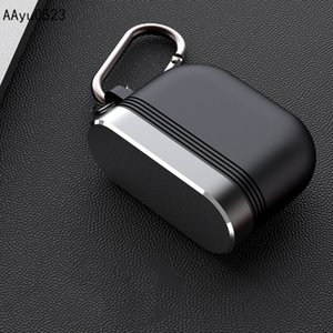 2in1 Aluminium Alloy Silicone Earphone Case Cover for Apple AirPods Pro Luxury Protective Shell Shockproof Case with Metal Hook