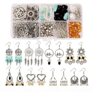 New Vintage Silver Gold Plated DIY Earring Set Handmade Pearl Dangle Drop Earring Accessories Sets For Women Girls