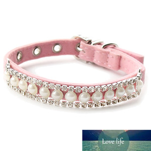 LBER Store Rhinestone Pearl Chain Dog Collar Princess Collars for Dogs Cats Pet Leads Accessories(pink)M Tag Collar