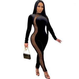 Womens Skinny Rompes Casual Soild Couleur Femme À Manches Longues Mode Consurée Couche Jumpsuits Sexy Avec Strass