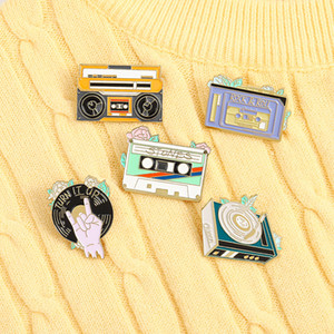15pcs Lot European Cartoon Radio Phonograph Brooches Retro Rock Roll CD Record Enamel Pins Unisex Children Alloy Tape Brooch Jewelry