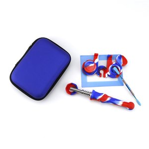 Newest Titanium Nail Hand Pipe Smoking Kit Set With Silicone Dab Wax Dabber Silicone Oil Container Dab Tool FDA Approval