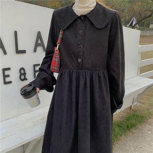 Hzirip 2020 블랙 빈티지 따뜻한 우아한 세련된 달콤한 레트로 여성 세련된 새끼 Corduroy A 라인 공주 긴 간단한 소프트 드레스
