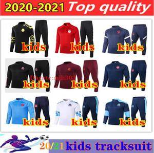 20 21 Real Madrid crianças jaqueta de futebol treino 2020 2021 Dortmund Olympique de Marseille França Ajax terno treinamento caçoa o futebol chandal corrida