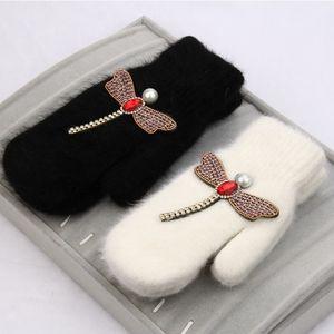 2020 Women Gloves Winter Crystal Dragonfly Rabbit Fur Brand Gloves for Female Double Warm Full Finger Mittens Christmas Gifts
