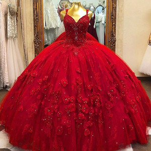 Red Quinceanera Ball Gown Dress 3D Floral Flowrs Sweet 16 Dress Long Puffy Party Gowns vestidos de 15 años